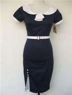 50s Style Nautical Dress  #nautical #wiggle #sailor #navy