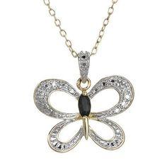 New Genuine Diamond & Sapphire In 925 Gold Plated Silver Butterfly Necklace Butterfly Gold, Butterfly Necklace, Sterling Silver Necklaces, Jewelry Necklaces, Blue Sapphire, 925 Silver, Pendants, Pendant Necklace, Gemstones