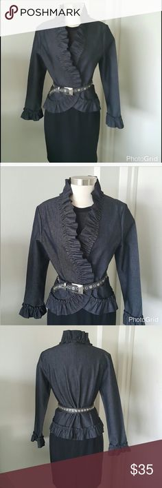 Nicole Miller Denim Jacket w/ Ruffle Trim Nicole Miller Denim Jacket w/ Ruffle Trim. And unusual play on denim. Beautiful and romantic. Please see additional information in photo area 4.  Please look at photos and descriptions carefully before you purchase. Reposh.  This item is not returnable. Press like on any item in my closet and be the first to know of price markdowns.Thank you Nicole by Nicole Miller Jackets & Coats Jean Jackets