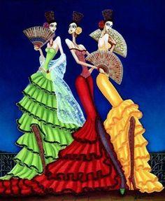 """""""Gitanas con Abanicos"""" de Carlos Andino @ VirtualGallery.com"""