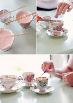 Wedding favor ideas! Love that they're homemade and super easy. Instead of tea cups you could also use small mason jars!