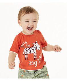 Футболка з принтом зебри оранжевого кольору - Футболки, майки, топи - Хлопчики (6 - 36 місяців) - Хлопчики