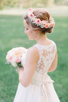 Flower crown and lace back wedding dress