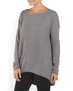 Hi+Lo+Textured+Sweater