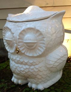 handmade ceramic pudgy owl cookie jar, white, metallic gold accents,owl home decor