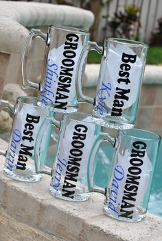 Beer Mugs personalized for the Groomsman. Check them out at Sticker Shop Unlimited