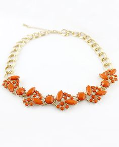 Orange Gemstone Gold Double Layers Chain Necklace US$7.51