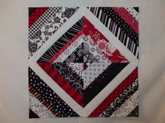 Love, Love, Love the red/black/white combo in this block! for all my scraps from other Black, white and red allover quilt