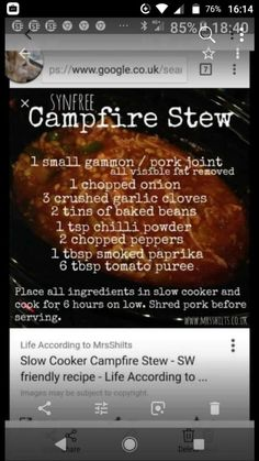 Campfire Stew, Slimming World Recipes, Smoked Paprika, Baked Beans, Slow Cooker, Pork, Stuffed Peppers, Glamping