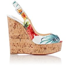 """Christian Louboutin Women's """"Une Plume Sling"""" Sandals (1 005 AUD) ❤ liked on Polyvore featuring shoes, sandals, white, wedge sandals, peep toe wedge sandals, wedges shoes, white platform sandals and sling back sandals"""