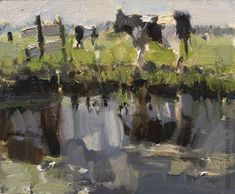 """Daily Paintworks - """"Painting """"First Cows"""""""" by Roos Schuring"""