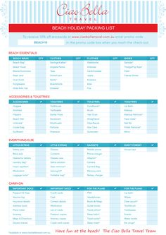 Checklist template samples beach trip vacation packing list for your next getaway cruise vacations travel Beach Holiday Packing List, Beach Vacation Packing List, Packing List For Travel, Beach Trip, Cruise Trips, Cruise Packing, Holiday List, Traveling Tips, City Beach