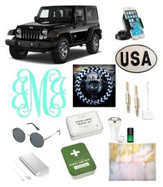 """""""high school car essentials"""" by faithjones1223 on Polyvore featuring interior, interiors, interior design, home, home decor, interior decorating, Wrangler, Belkin, Jeepers Peepers and Samsung"""