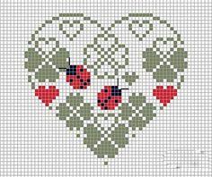 Free Ladybug Cross Stitch Patterns – Embroidery and Arts Creatives Cross Stitching, Cross Stitch Embroidery, Embroidery Patterns, Hand Embroidery, Cross Stitch Designs, Cross Stitch Patterns, Cross Stitch Heart, Needlework, Tapestry