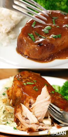 Crock Pot Pork Chops are the easiest slow cooker recipe ever. Toss and go. Toss it all in the crock pot and you return to perfectly tender, melt in your mouth pork cooked in the most spectacular sauce. It is a little sweet, a little spicy, a little barbeq Meat Recipes, Slow Cooker Recipes, Chicken Recipes, Cooking Recipes, Oven Cooking, Healthy Recipes, Cooking Videos, Cooking Oil, Slow Cooker Recipe Videos