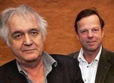"Henning Mankell with actor, Krister Henriksson, who played Kurt Wallander in the Swedish TV series, ""Wallander."""