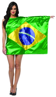 #1967 Brazil Flag Dress - Show your pride, support, and love of country in your very own flag dress!  Raise and wave your left arm and everyone will sing your praise!  Polyester Satin.  Fits women sizes 4-8. #brazilflag #brazil #halloween #parade #festival #costume