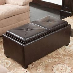 Dayton 4 Tray Top Bonded Leather Storage Ottoman   Would It Be Big Enough  For A File Folders And Laptop Storage? | Living Room | Pinterest | Bonded  Leather, ...