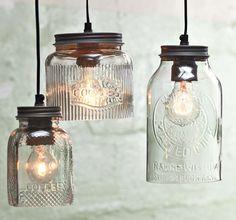 the hanging lightbulb with style #suspensionhanging (suspension hanging) Mason Jar Lighting, Mason Jar Lamp, Diy Pendant Light, Pendant Lighting, Pendant Lamps, Kitchen Lighting Fixtures, Light Fixtures, Bathroom Lighting, Jar Lights