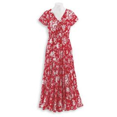 Floral Crinkle Crossover Dress - Casual Womens Clothing and Fashion Accessories - Exclusive Styles in Misses and Womens Plus Sizes | Serengeti