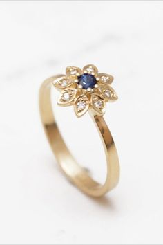 Or Rose, Rose Gold, Solid Gold, White Gold, Take Me Up, Bohemian Rings, Diamond Flower, Gold Rings, Sapphire