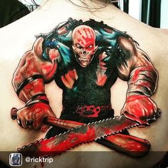 """""""Tattoo that Rick did today of the Five Finger Death Punch album cover tattoo contest....She SAT like a trooper 1 session 5 hours straight. At the world's…"""""""