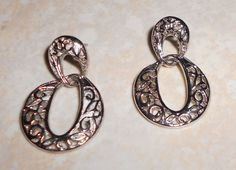 Vintage Pierced Sivertone Earrings by TrendyCharm on Etsy, $7.00