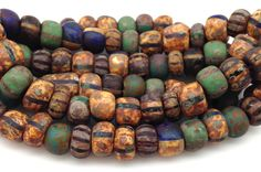 88 CENTS PER INCH $5.25 FOR 6 INCH STRAND 7.5mm ~~ 1 Strand Mixed Aged Striped Picasso Czech Glass Seed Beads 32/0