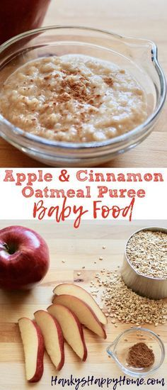 This homemade oatmeal puree makes a perfect breakfast for little ones. Add apples and cinnamon to make it yummy and make your kitchen smell like fall.