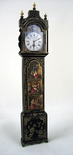 Painted Longcase Clock by Keith Bougourd - $2,750.00 : Swan House Miniatures, Artisan Miniatures for Dollhouses and Roomboxes