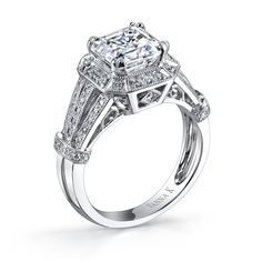 VannaK.com  Diamond: Round .29 Carat  (2 Carat center Assher cut not included)  The Solea bridal collection, using the micro-pave technique, represents unsurpassed quality, refinement & detail, ensuring the greatest token of love and commitment.