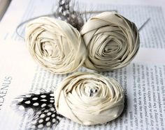 #Ivory #rosette #headband and pin clip