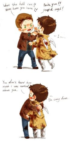 An adorable cartoon that pretty accurately sums up Dean and Cas's relationship