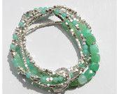 "Seafoam Chrysoprase & Sterling Bead Long Necklace or Wrap Bracelet 37"""