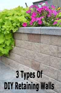 "3 Types of DIY Retaining Walls - plan your projects for next summer!- Retaining wall around the concrete area ""porch"" - would be very nice. Backyard Fences, Backyard Landscaping, Backyard Ideas, Garden Ideas, Lawn And Garden, Home And Garden, Dream Garden, Cabana, Diy Retaining Wall"
