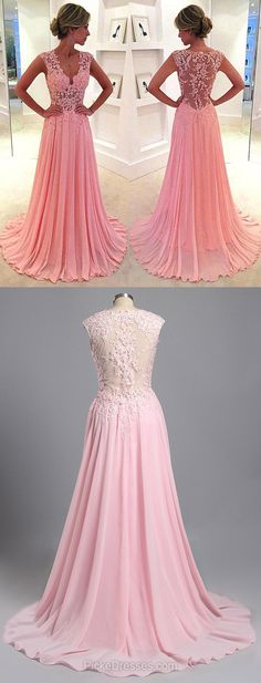 Pink Prom Dresses Long, 2018 Formal Dresses V-neck, Lace Evening Party Dresses Chiffon Appliques, Modest Pageant Dresses Cheap Junior Prom Dresses, Best Prom Dresses, Prom Dresses For Teens, Long Prom Gowns, Pink Prom Dresses, Plus Size Prom Dresses, Beautiful Prom Dresses, Cheap Prom Dresses, Pageant Dresses