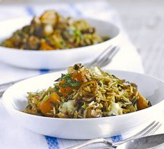 Squash, mushroom, and gorgonzola pilaf. Slow cook brown basmati rice in stock and flavour with mushrooms, blue cheese, sage and parsley