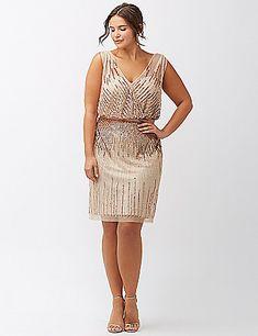 Plus Size Sequined Dress - Plus Size Cocktail Party Dress