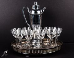 Vintage Barware Set: 11 Cocktail / Cordial / Sherry Laurel Leaf Glasses Chrome Cocktail Shaker Gabled Silverplate Footed Tray Downton Abbey by TheCordialMagpie from Etsy. Find it now at http://ift.tt/1Trhnmt!