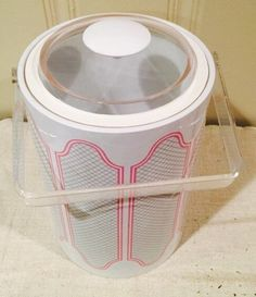 Rare Mid Century Lucite Stotter Ice Bucket - High End Wedding Gift - Pink/White/Grey Print 1960's New York.
