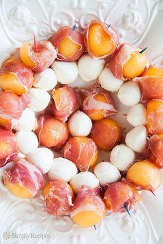 Prosciutto Wrapped Melon Mozzarella Skewers
