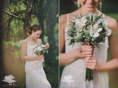 zielony ślub w plenerze, zielony bukiet ślubny w nowozelandzkim stylu