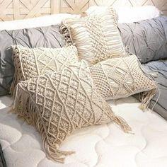 Boho cushion cover macrame pillows case bohemia geometric pattern cotton thread with tassels pillowcase sofa throw home decor Boho Cushions, Couch Cushions, Decorative Cushions, Contemporary Cushion Covers, Sofa Throw, Throw Pillows, Neutral Sofa, Boho Style Decor, Cheap Cushion Covers