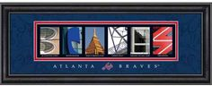 MLB Letter Art features individual photos of buildings, sculptures or landmarks from around the city of your favorite team. A caption is below each photo showing where it was taken. Expertly framed with a crystal clear glass front, this unique product arrives ready to hang in any room of the home or office. $49.99