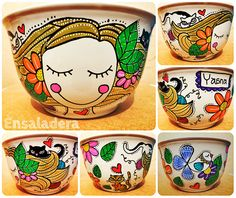 Ensaladera Cup Art, Painted Pots, Clay Pots, Terracotta, Artsy Fartsy, Objects, Porcelain, Doodles, Mugs