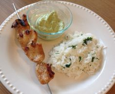 Chipotle Chicken Kebabs with an Avocado Cream Sauce