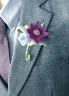 Purple wool felt flower boutonniere handmade with small blue flower for eco-friendly weddings by AspenCroft, $20.00
