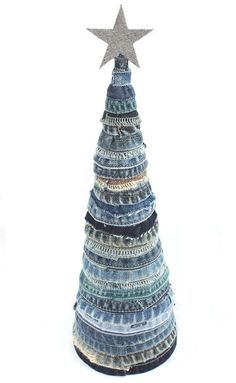 handmade blue denim christmas tree.