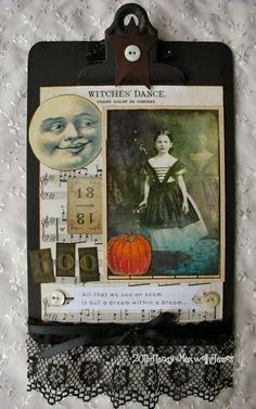 altered clip boards | BeWitched Halloween Mini Altered Clipboard HANDMADE 6 x 9