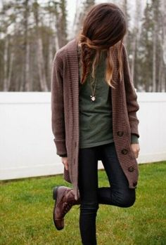 skinnys with oversized sweater. I'd just wear it with flats and no jewelry though.